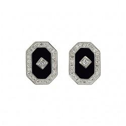 Onyx & Cubic Zirconia Earrings