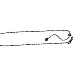 Silver With Black Ruthenium Finish 1.5Mm Diamond Cut Adjustable Cable Chain With Lobster Clasp