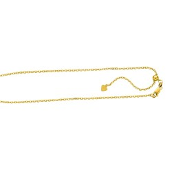 Silver With Yellow Finish 1.5Mm Diamond Cut Adjustable Cable Chain With Lobster Clasp