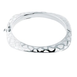Silver With Rhodium Finishwhite Enamel Shiny Fancy Bangle With Clasp