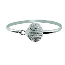 Silver With Rhodium Finish Shiny Textured Sea Shell Top Bangle With Hook Catch