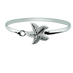 Silver With Rhodium Finish Shiny Textured Star Fish Top Bangle With Hook Catch