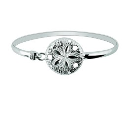 Silver With Rhodium Finish Shiny Textured Sand Dollar Top Bangle With Hook Catch