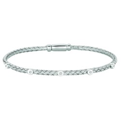 Silver Rhodium Finish 2.95Mm Shiny Basketweave Bangle 0.05Ct White Diamond Bangle5-Round Circle With Box Clasp
