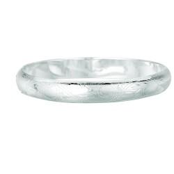 Silver Rhodium Finish Shiny 8.9Mm Diamond Cut Slip On Pattern Bangle With Safety Chain