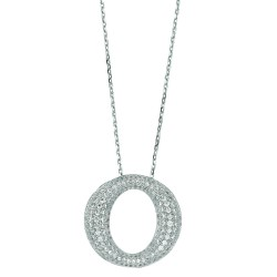 Silver Rhodium Finish 1.1Mm Cable Chain With Lobster Claspopen Oval Shape Pendant With Clear Cubic Zirconia