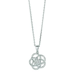 Silver Rhodium Finish Shiny 1.2Mm Cable Chain With Lobster Claspflower Pendant With Clear Cubic Zirconia