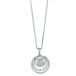 Silver Rhodium Finish Shiny 1.2Mm Cable Chain With Lobster Clasp3 Graduated Rings Pendant With Clear Cubic Zirconia