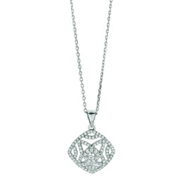Silver Rhodium Finish Shiny 1.2Mm Cable Chain With Lobster Claspdiamond Shape Pendant With Clear Cubic Zirconia