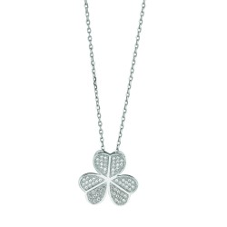 Silver Rhodium Finish 1.1Mm Cable Chain With Lobster Clasp3-Leaf Clover Pendant With Clear Cubic Zirconia