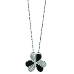 Silver Rhodium Finish 1.1Mm Cable Chain With Lobster Clasp3-Leaf Clover Pendant With Clearblack Cubic Zirconia
