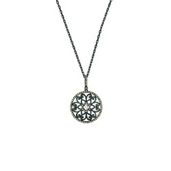 Silver Blackrhodium Finish 1.25Mm Cable Chain With Lobster Claspfancy Round Pendant With Coffeewhite Cubic Zirconia