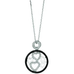 Silver Rhodium Finish 1.1Mm Cable Chain With Lobster Claspround Pendant With 5 Heart With Clearblack Cubic Zirconia Pendant