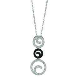 Silver Rhodium Finish 1.1Mm Cable Chain With Lobster Clasp3-Circle Pendant With Clearblack Cubic Zirconia