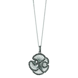 Silver Rhodium Finish 1.1Mm Cable Chain With Lobster Claspfancy Flower Pendant With Black Cubic Zirconia
