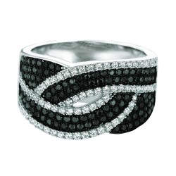Silver Rhodium Finish Shiny Open Top Band Type Size 7 Ring With Blackwhite Cubic Zirconia