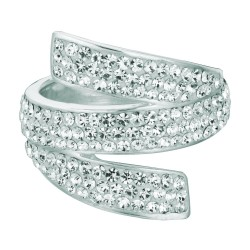 Silver With Rhodium Finish Shiny 5.8Mm By Pass Type Size 6 Ring With White Crystal