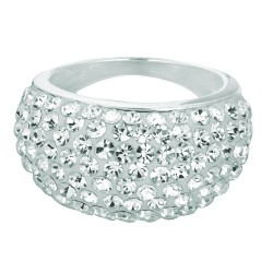 Silver With Rhodium Finish Shiny 3-8Mm Graduated Size 6 Ring With White Crystal