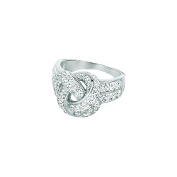 Silver With Rhodium Finish Shiny 2-7Mm Love Knot Top Size 6 Ring With White Crystal