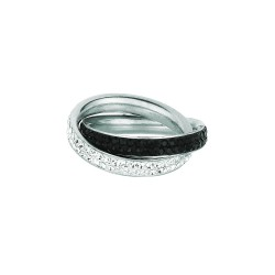 Silver With Rhodium Finish Shiny Double Band Type Size 6 Ring With Whiteblack Crystal