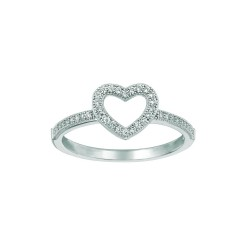 Silver With Rhodium Finish Shiny Open Heart Top Size 6 Ring With Clear Cubic Zirconia