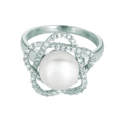 Silver Rhodium Finish Shiny 2.3-3.3Mm Flower White Pearl Cubic Zirconia Size 6 Ring
