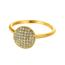 Silver With Yellow Finish 2.15Mm Shiny Round Top Size 6 Stackable Ring With White Cubic Zirconia
