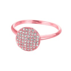 Silver With Rose Finish 2.15Mm Shiny Round Top Size 6 Stackable Ring With White Cubic Zirconia
