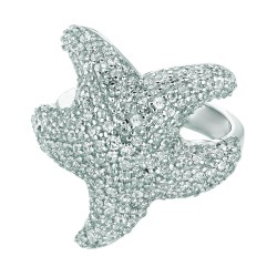 Silver Rhodium Finish 4.2Mm Shiny Starfish Top Size 7 Ring With White Cubic Zirconia