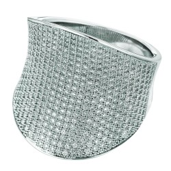 Silver Rhodium Finish 6.7-11Mm Shiny Graduated Concave Size 6 Ring With White Cubic Zirconia