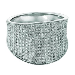 Silver Rhodium Finish 5.5-8Mm Shiny Graduated Concave Size 6 Ring With White Cubic Zirconia