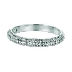 Silver Rhodium Finish Shiny Band Type Sise 6 Ring White Cubic Zirconia