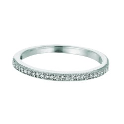 Silver With Rhodium Finish 1.5Mm Shiny Band Type Size 6 Stackable Ring With White Cubic Zirconia