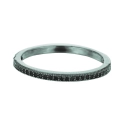 Silver With Black Ruthenium Finish 1.5Mm Shiny Band Type Size 6 Stackable Ring With Black Cubic Zirconia