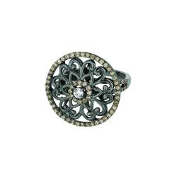 Silver Black Ruthenium Finish Shiny Fancy Round Top Size 6 Ring Coffeewhite Cubic Zirconia
