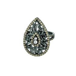 Silver Black Ruthenium Finish Shiny Fancy Teardrop Shape Top Size 6 Ring Coffeewhite Cubic Zirconia