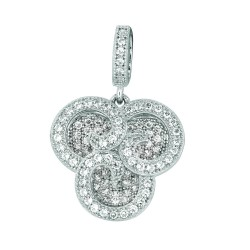 Silver Rhodium Finish 1.1Mm Cable Chain With Lobster Clasp18Mm Fancy Flower Pendant With White Cubic Zirconia