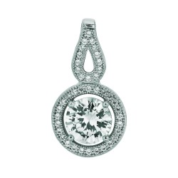 Silver Rhodium Finish 1.1Mm Cable Chain With Lobster Clasp14Mm Open Ring With Clear Cubic Zirconia Pendant