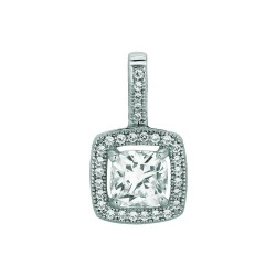Silver Rhodium Finish 1.1Mm Cable Chain With Lobster Clasp12Mm Square With Clear Cubic Zirconia Pendant