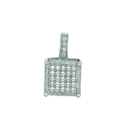 Silver Rhodium Finish 1.1Mm Cable Chain With Lobster Clasp10Mm Square With Clear Cubic Zirconia Pendant