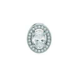 Silver Rhodium Finish 1.1Mm Cable Chain With Lobster Clasp13Mm Open Oval With Clear Cubic Zirconia Pendant