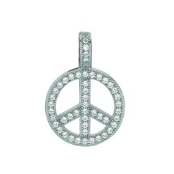 Silver Rhodium Finish 1.1Mm Cable Chain With Lobster Clasp16Mm Peace Sign With Clear Cubic Zirconia Pendant