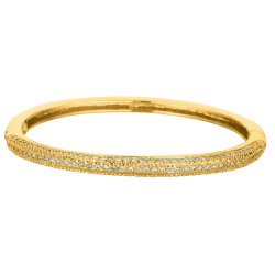 Silver With Yellow Finish Shiny 3.75Mm Fancy Bangle With White Cubic Zirconia