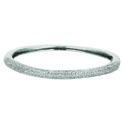 Silver With Rhodium Finish Shiny 3.7Mm Fancy Bangle With White Cubic Zirconia
