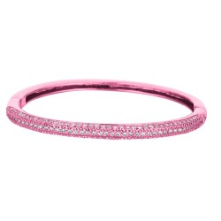 Silver With Rose Finish Shiny 4.1Mm Slip On Bangle With White Cubic Zirconia
