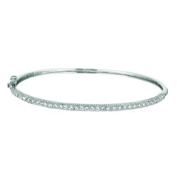 Silver With Rhodium Finish Shiny 2.4Mm Bangleclasp With White Cubic Zircon Ia