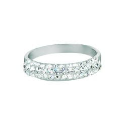 Silver With Rhodium Finish Shiny Band Type Size 6 Ring With White Crystal