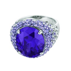 Silver With Rhodium Finish Shiny Amethyst Crystal Semi-Round Shape Top Size 7 Ring With Crystal Trim