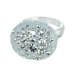 Silver With Rhodium Finish Shiny Round Top Size 7 Ring With Light Grey Crystal