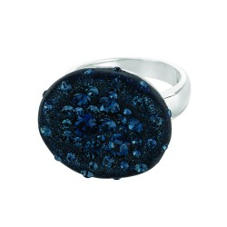Silver With Rhodium Finish Shiny Round Top Size 7 Ring With Blue Crystal